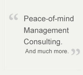 """ Peace-of-mind Management Consulting. And much more."""